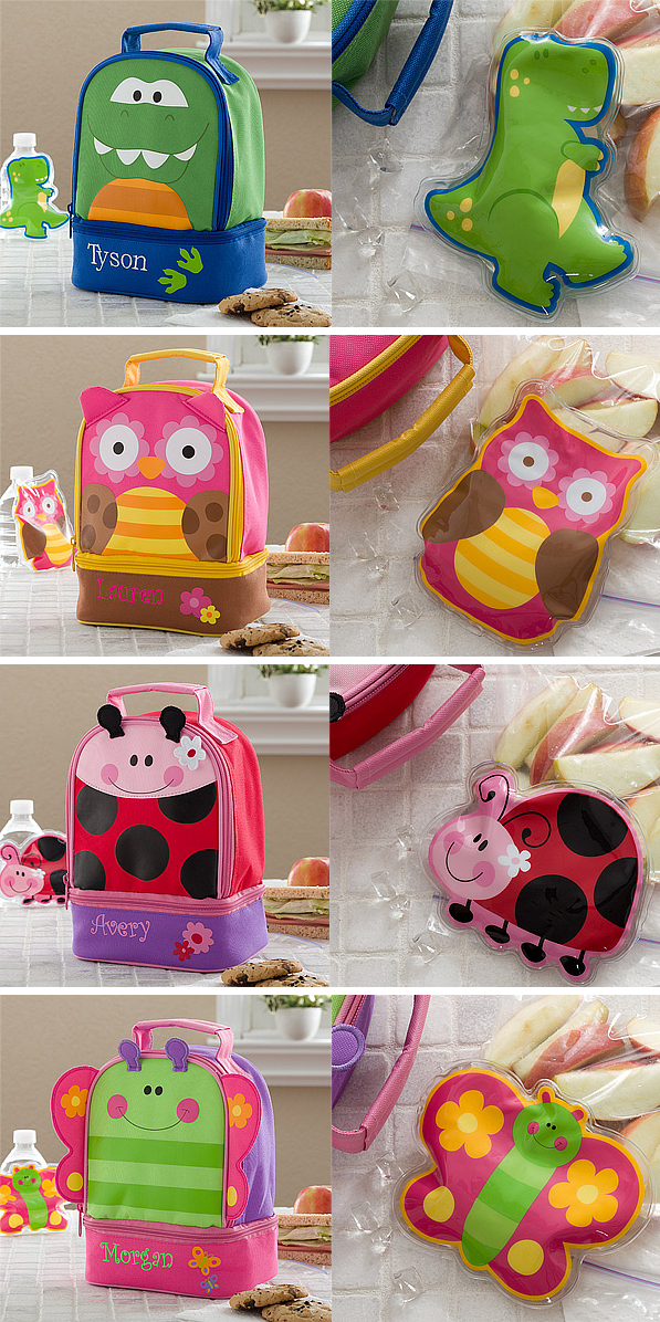 These Lunch Bags are ADORABLE! You can personalize them with any name and they even have matching ice packs! They're fully insulated to keep food both warm and cold and they have 2 compartments for storing extra goodies. They're on sale now at PMall for their Back To School Sale! #School #Dinosaur #Owl #LadyBug #Butterfly #Sale