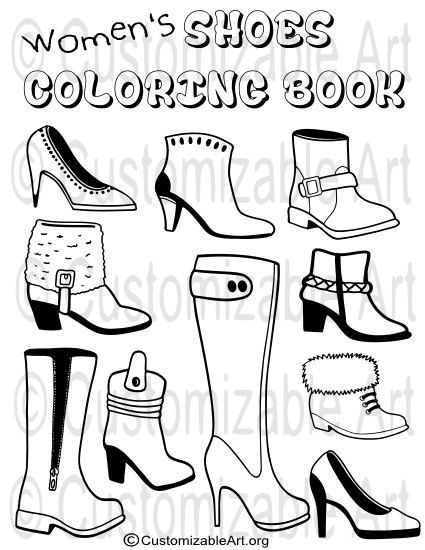 Printable Coloring Book Pdf Womens Girls Shoes Boots Colouring Etsy Coloring Books Printable Coloring Book Printable Coloring