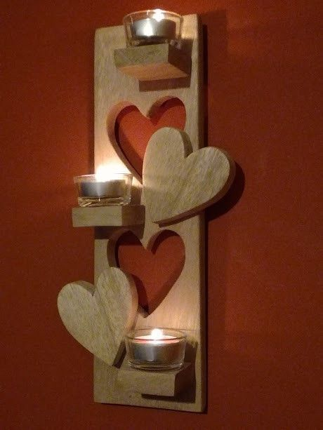 Heart Cut-out Pallet Tea Light Holder Pallet Candle HoldersPallet Wall Decor & Pallet Painting #WoodworkingProjectsCandleHolder #palettendeko