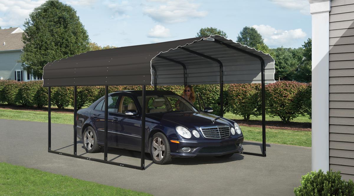Arrow Galvanized Black/Charcoal 10 x 15 x 7 Steel Carport