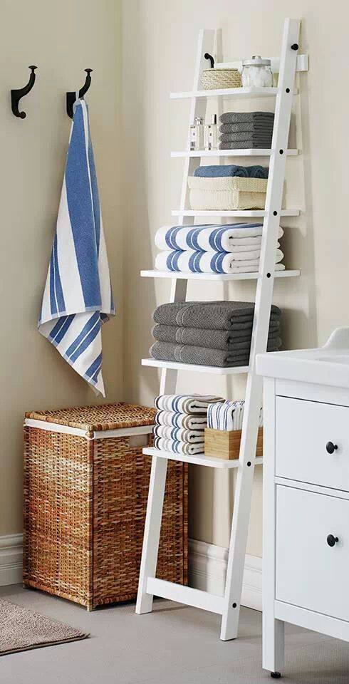 Beach House Bathroom   Love Ladder Idea For Extra Storage For Towels, Etc.