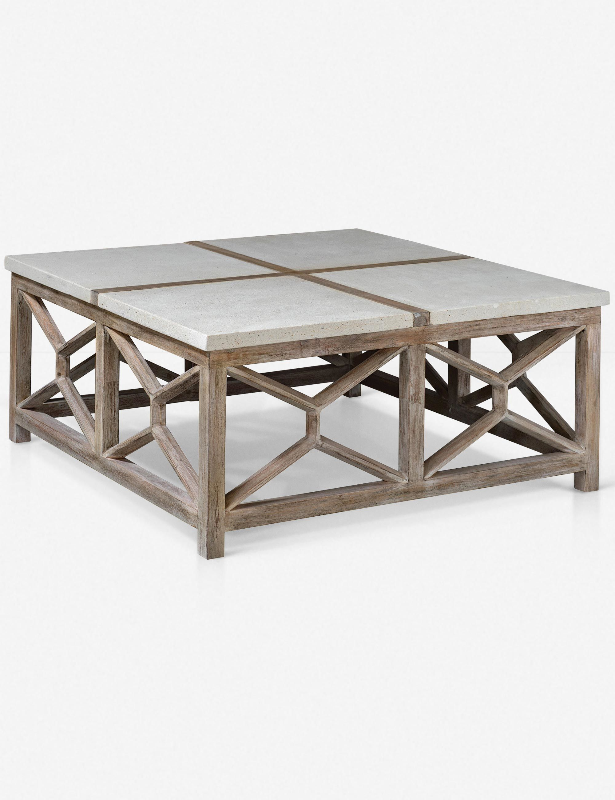 Shabby Chic Meets Contemporary Style With The Lacey Coffee Table An Ivory Limestone Surface Contrasts With Coffee Table Square Coffee Table Wood Coffee Table [ 2600 x 2000 Pixel ]