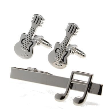 Mens 3pc Tie Bar Cufflinks Guitar and Musical Notes Gift Set