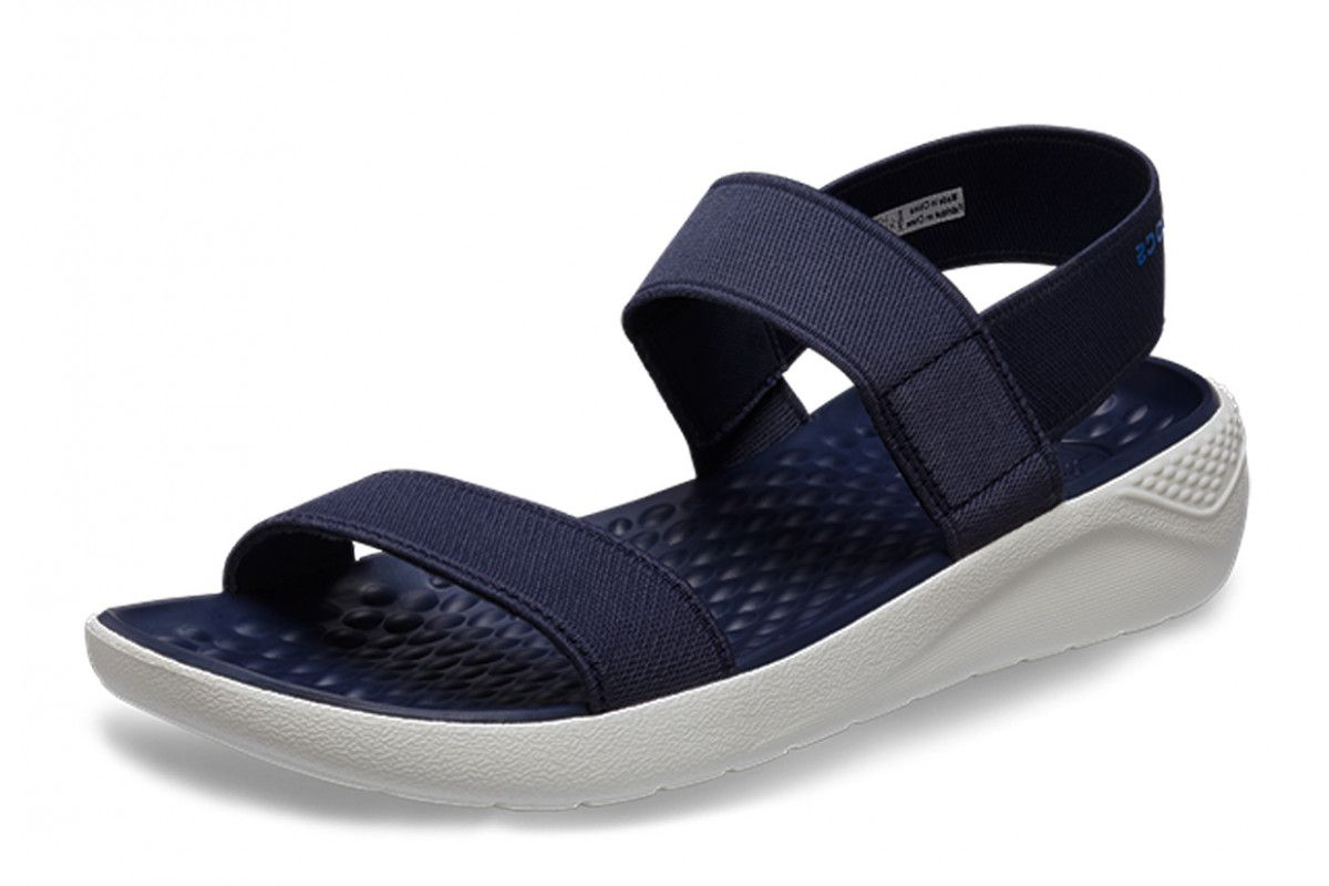 Crocs Literide Navy White Comfort Sandals Womens Womens Sandals Comfortable Sandals Navy And White