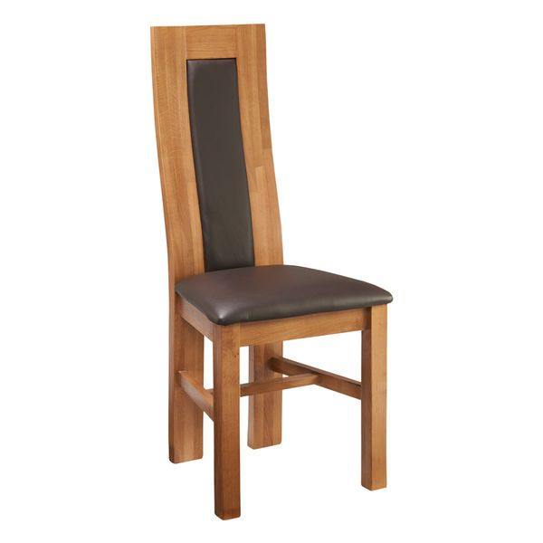Wren Living - Riviera Oak Waved Leatherback Dining Chair - Luxurious and stylish!