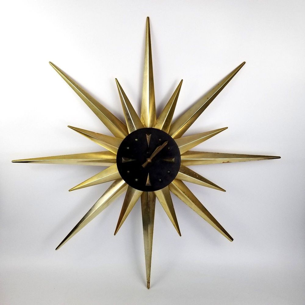 Mid Century Modern Star Wall Clock For Parts Or Repair Vintage 34 Large Sessions Wall Clock Brass Living Room Clocks Wall Decor Living Room