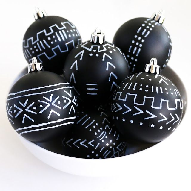 Craft It Mud Cloth Inspired Ornaments A Kailo Chic Life Black Christmas Decorations Boho Christmas Decor Diy Christmas Ornaments