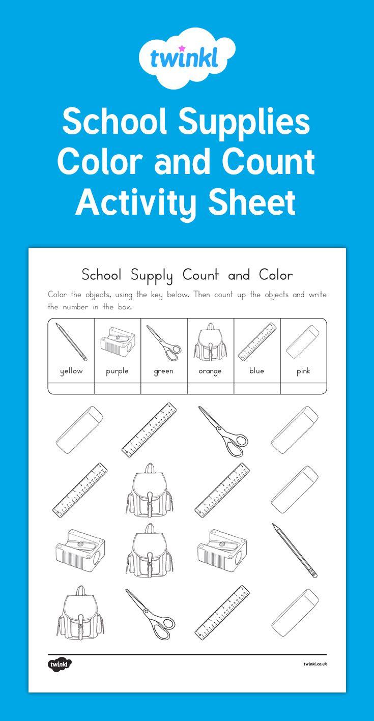 School Supplies Count And Color Activity School Supplies Back To School Activities Color Activities [ 1417 x 735 Pixel ]