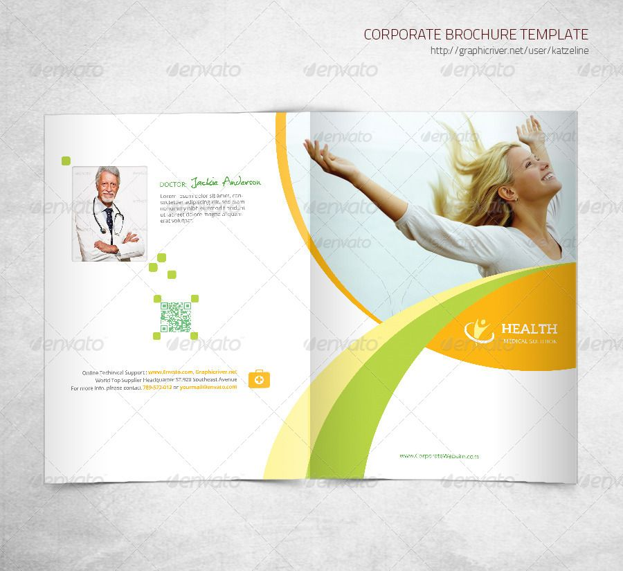 Health Medical Care  Bifold Brochure Template  Graphic Design