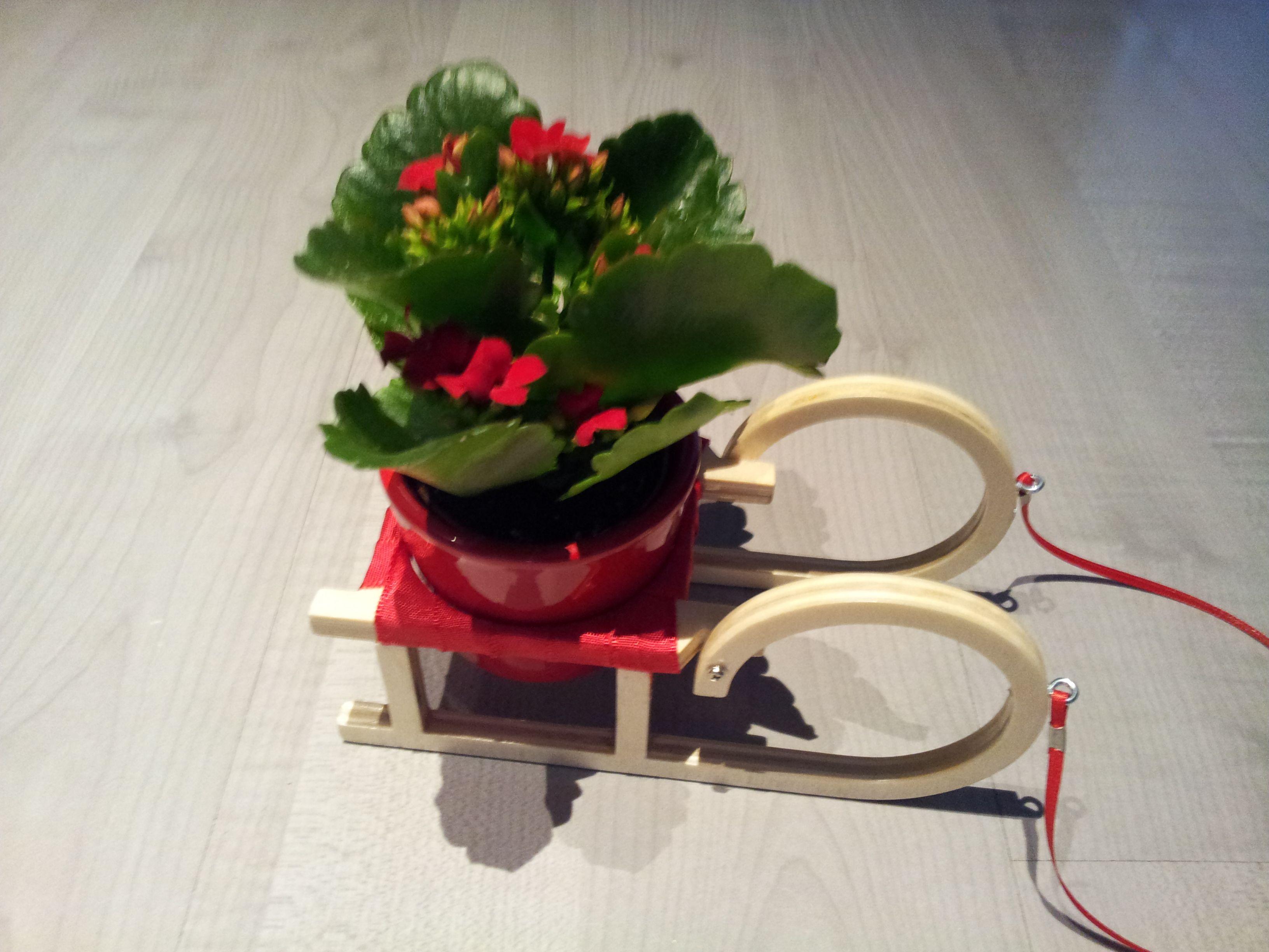 Schlitten für einen kleinen Blumentopf. Der Rahmen ist aus Laubsägesperrholz (mit Porenfüller behandelt), die Sitzfläche wurde mit Geschenkband bespannt, die Leine ist ebenfalls aus Geschenkband. Die Kufen sind aus Alu.