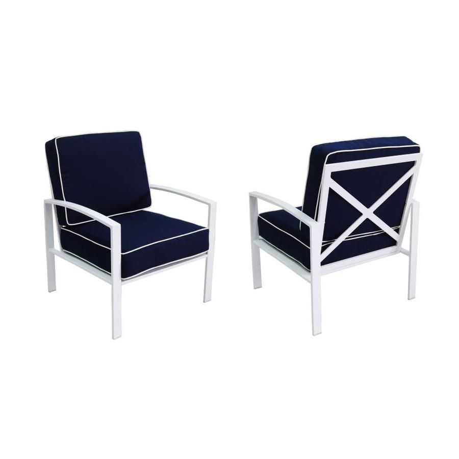 Allen Roth Ocean Park Set Of 2 White Metal Frame Stationary Conversation Chair S With Blue Slat Seat Lowes Com Blue Cushions Aluminum Patio Patio Chairs