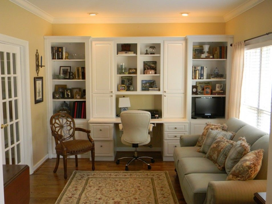 Home Office In Living Room Furniture Accessories Simple Design Of DIY Built Cabinets