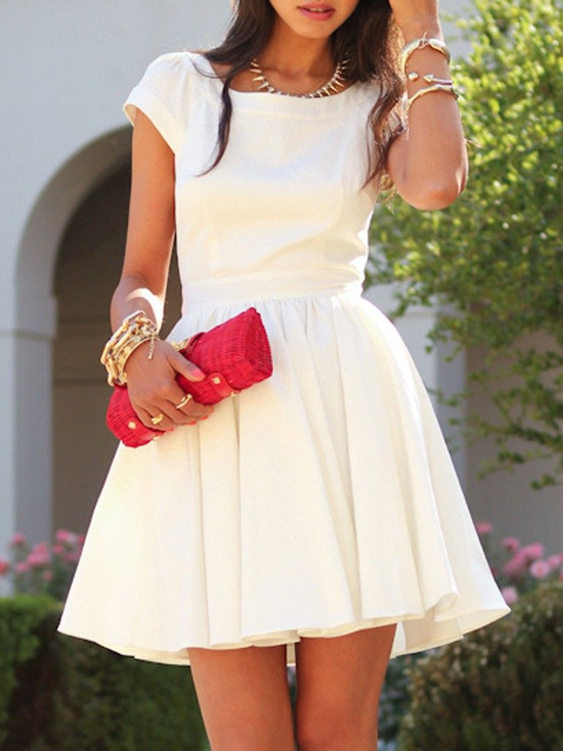 White square neck cap sleeve cut out back skater dress style