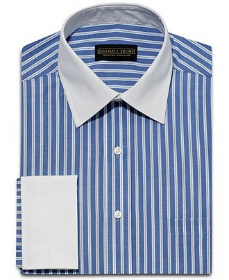 8656ba5412b Donald Trump Dress Shirt, Blue White Stripe White Collar French Cuff ...