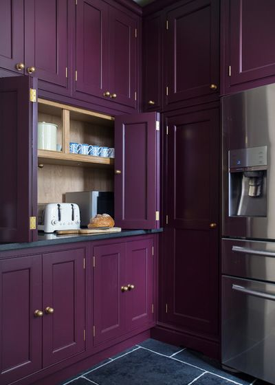 Transitional Kitchen By Lewis Alderson Co Pantry Cabinets Painted In Farrow Ball Brinjal Purple Kitchen Cabinets Purple Kitchen Painting Kitchen Cabinets
