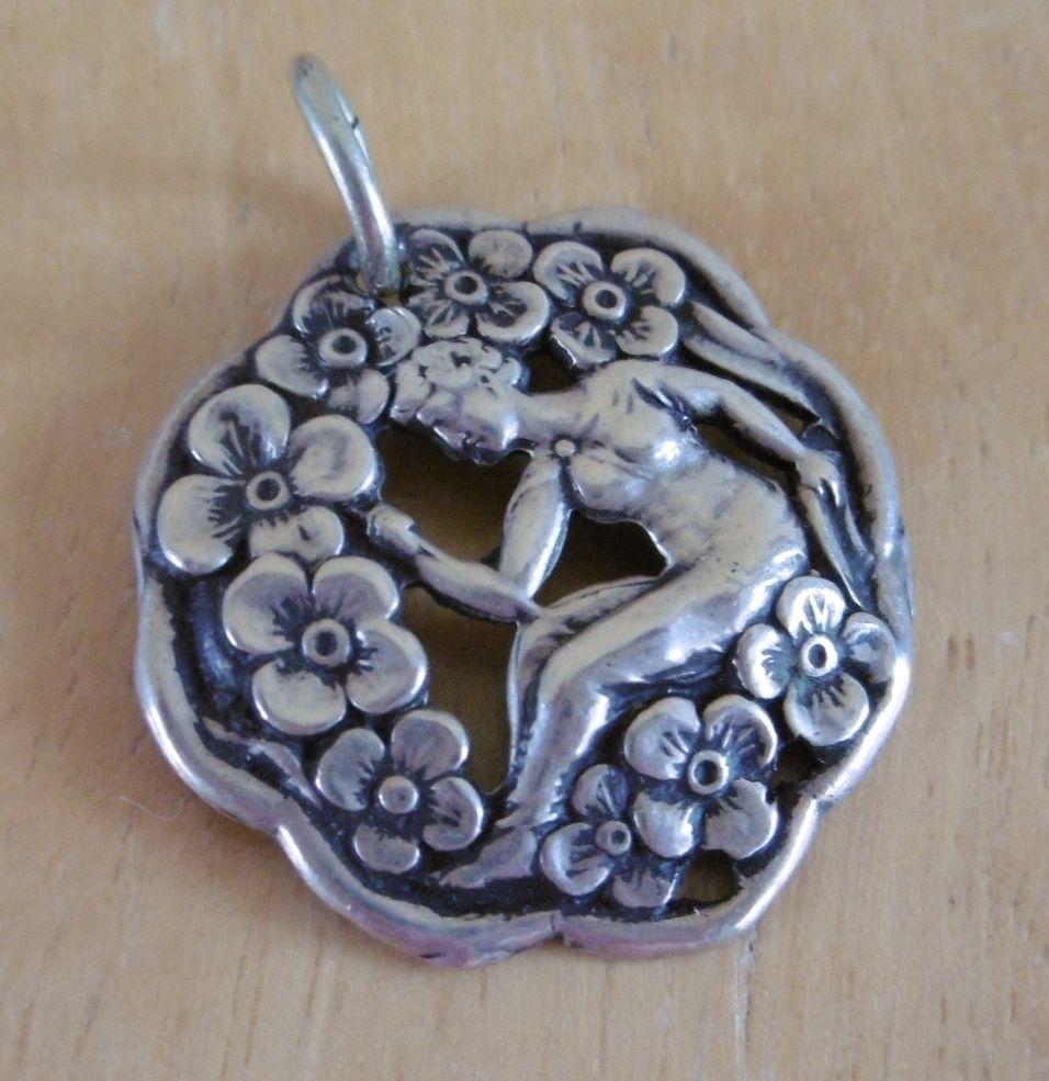 Antique Sterling Silver Art Nouveau Pendant By Levi & Salaman (FREE UK P&P)