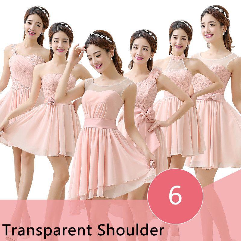 Seis-estilos-corto-Blush-Pink-dama-de-honor-vestidos-vestido-de-boda ...