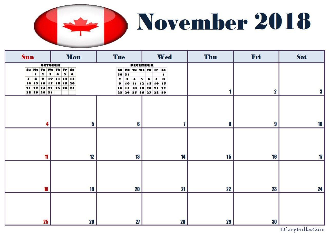 November 2018 Calendar Canada Excel Calendar Template Printable Calendar Template 2018 Calendar Template