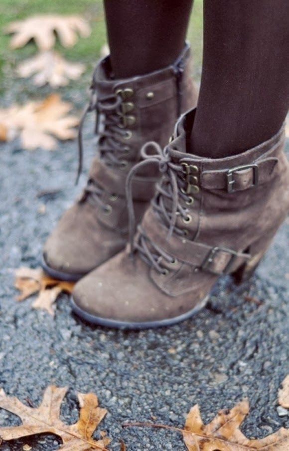 Adorable laces and buckle high heel boots fashion