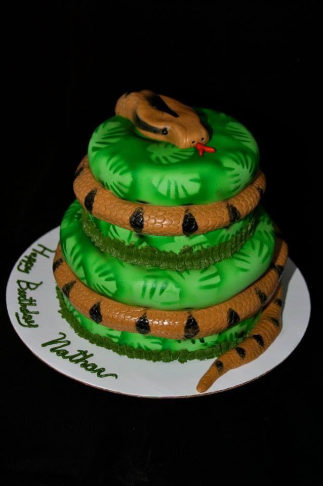 Magnificent Snake Cake Snake Birthday Snake Cakes Snake Party Funny Birthday Cards Online Overcheapnameinfo