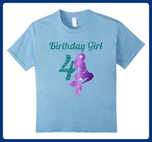 Kids 4th Birthday Girl Of Mermaid T Shirt 4 Years Old 6 Baby Blue