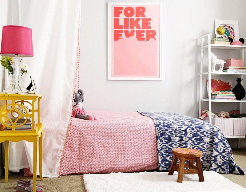 Small shop big girl room cute bohemian diy canopy john for Little girls nightstand
