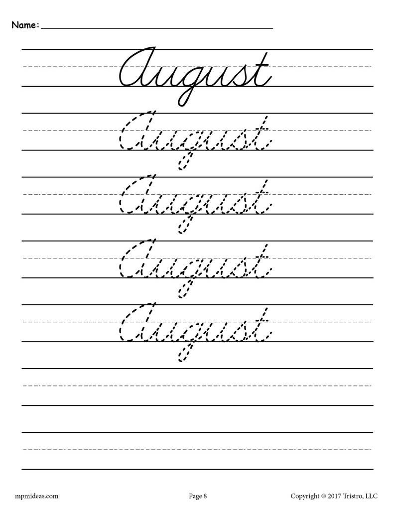 12 Months of the Year Cursive Handwriting Worksheets!   Cursive handwriting  worksheets [ 1024 x 791 Pixel ]