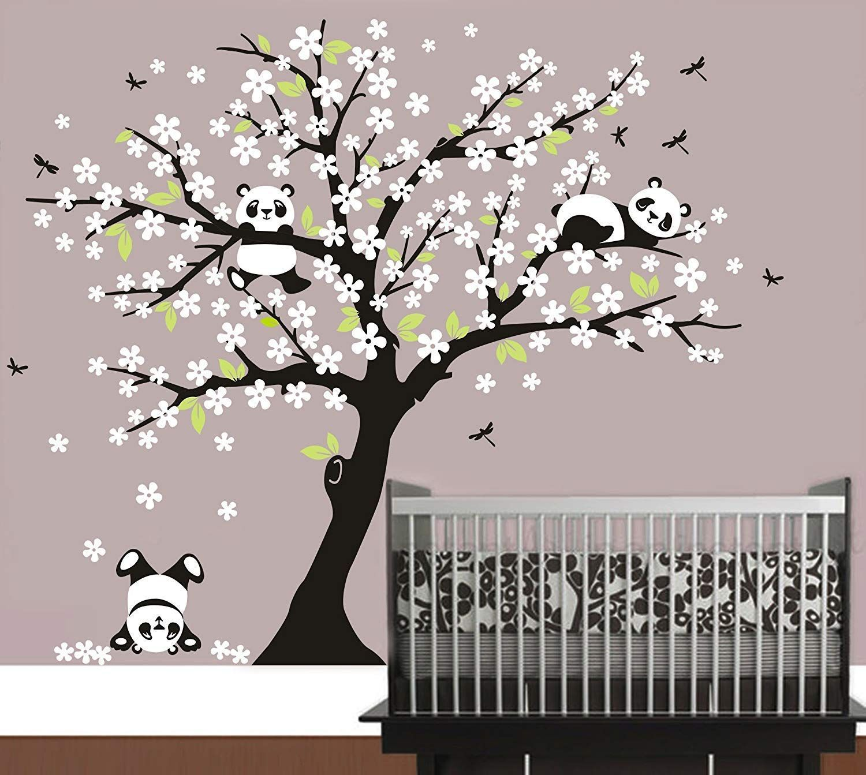 Luckkyy Three Playful Pandas Bear On Cherry Blossom Tree Wall Decal Tree Wall Sticker Nursery And Children Tree Wall Painting Tree Wall Decal Baby Wall Decals