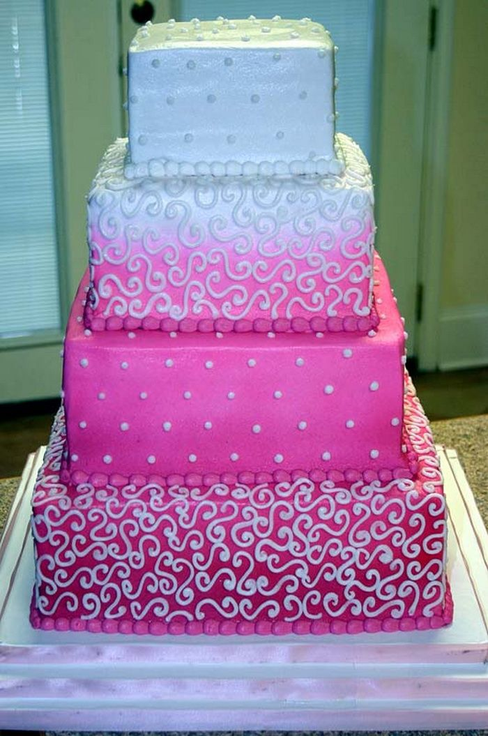 Square Pink Wedding Cakes I like this one too Wedding Stuff