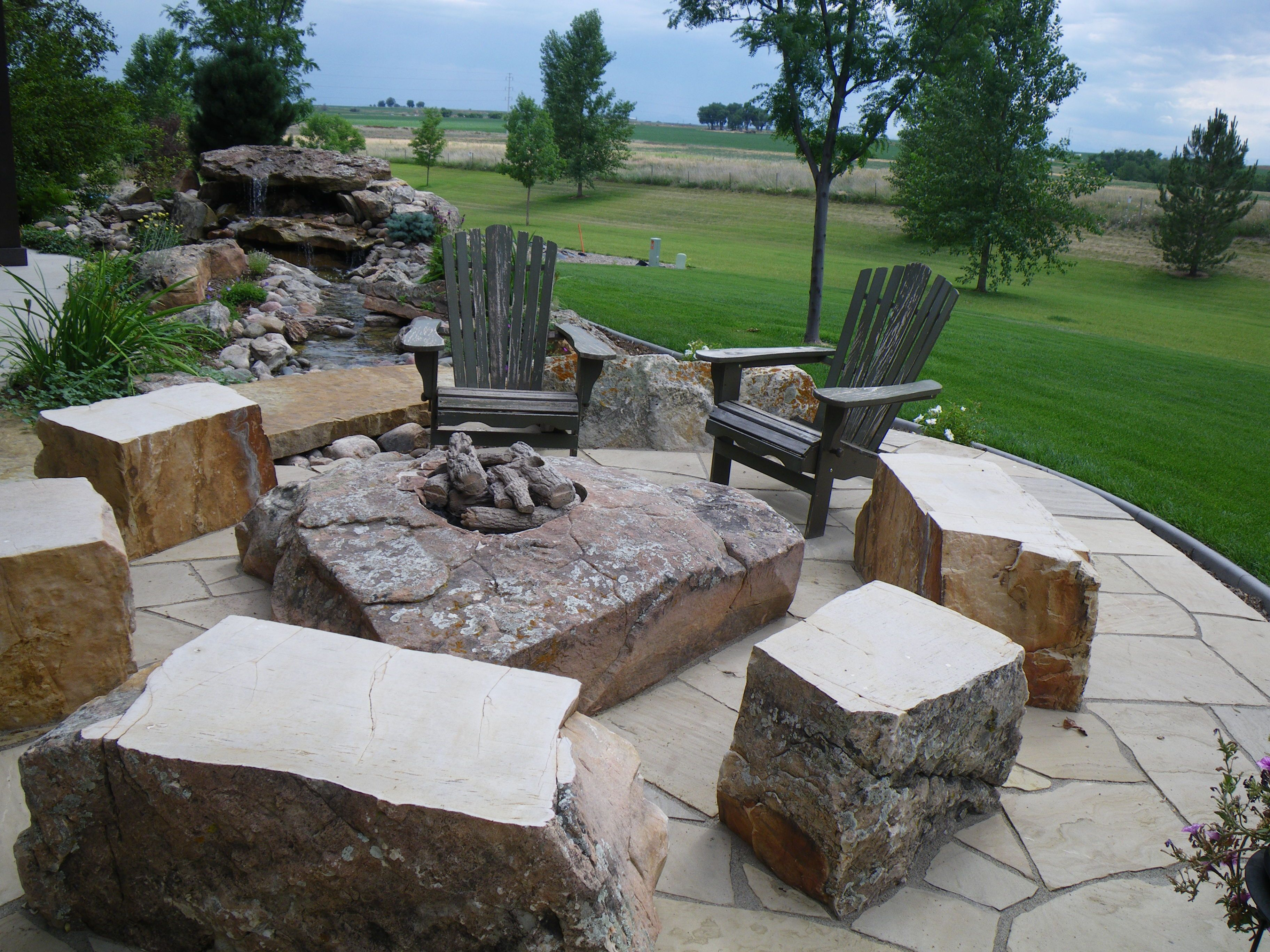 Rock Fire Feature Boulder Seats Custom Design Landscape by