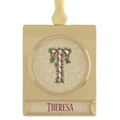 Gold Candy Cane Striped Letter T Gold Plated Banner Ornament