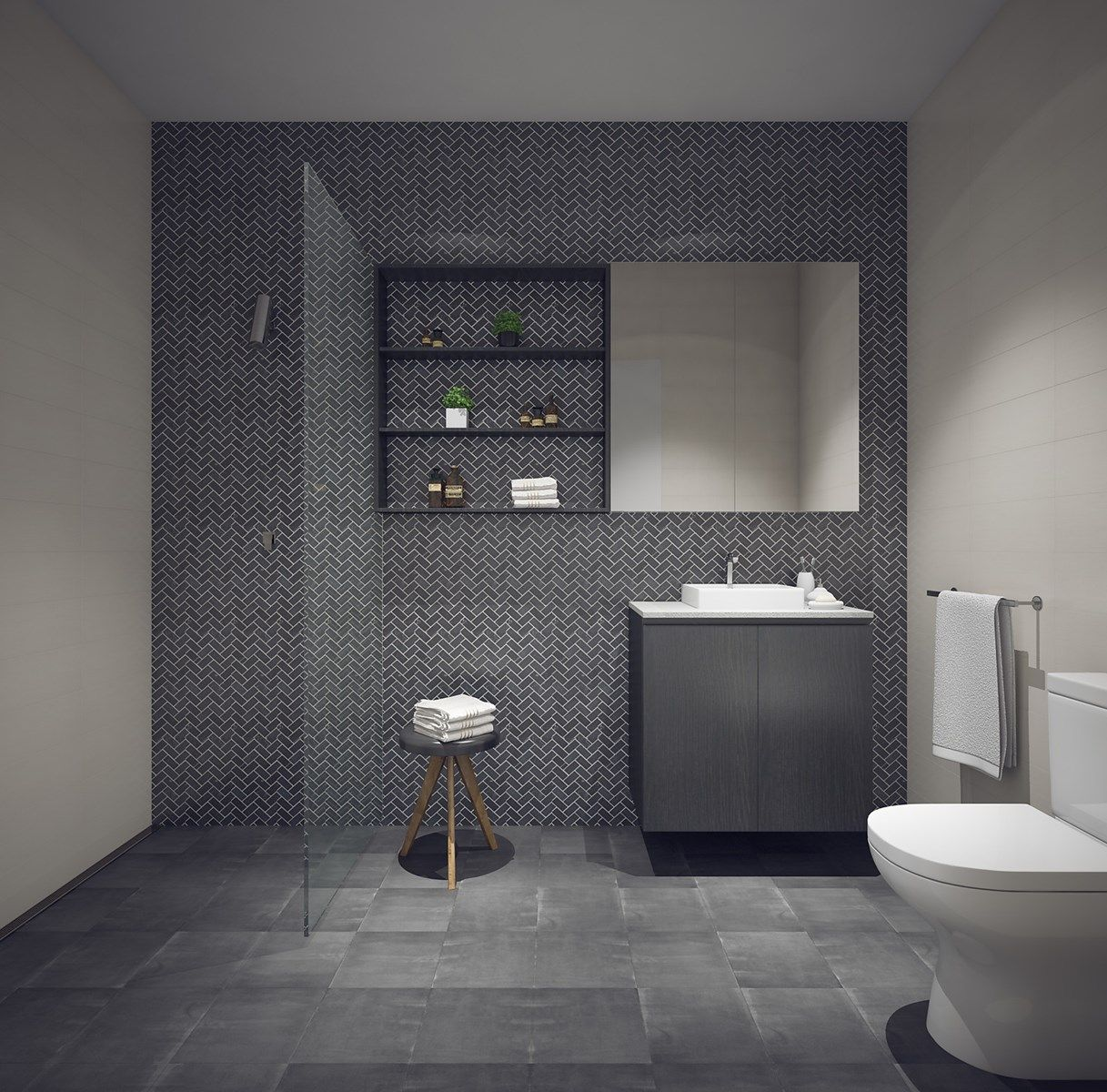 Dark floors and feature tiles in a windowless bathroom 10