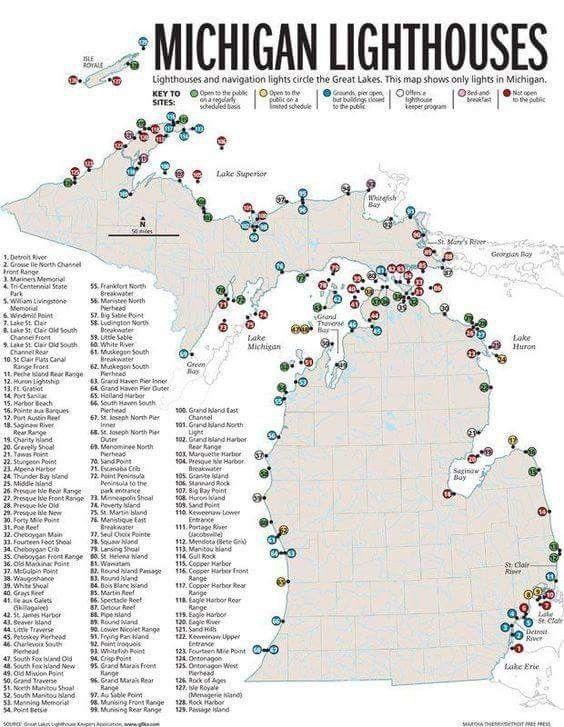 Pin by Jennifer Knapp on My MI | Map of michigan. Lighthouse. Michigan travel