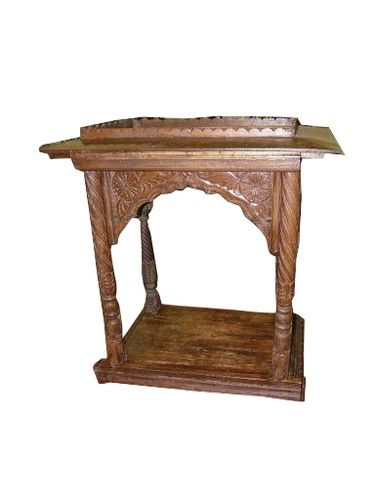 Antique Altar Temple Teak Wood Handcrafted Mandir India Furniture Teak Wood