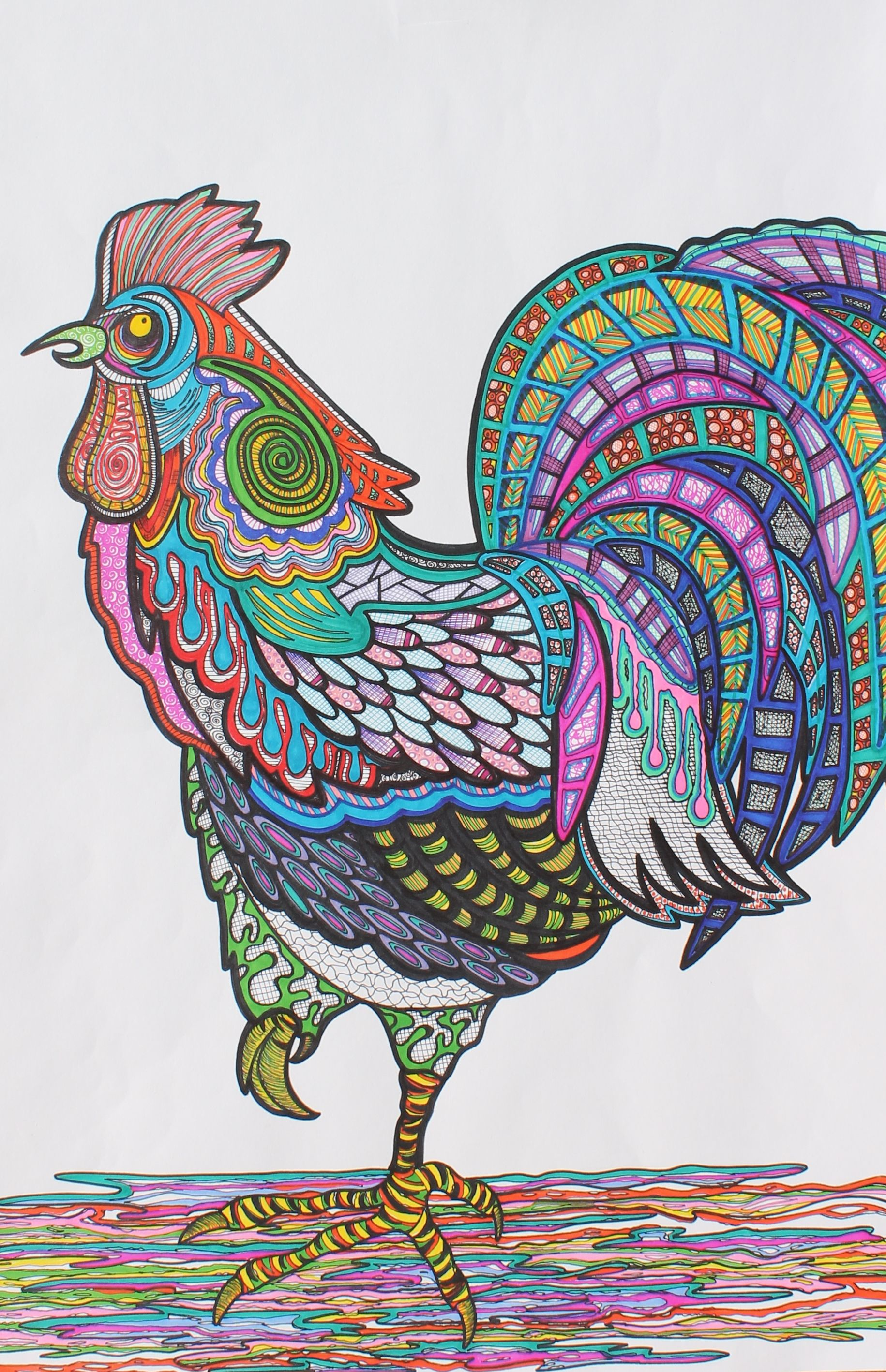 Rooster Sharpie Zentangle Art Great Exercise For The