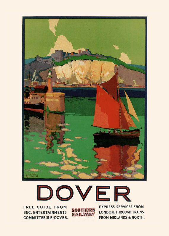 Dover Travel Poster U K Travel Poster 1920 S England Poster Art Deco Wall Art Frame Ready Ikea Ribba Size Cottage Wall Travel Posters Poster Art Deco Posters