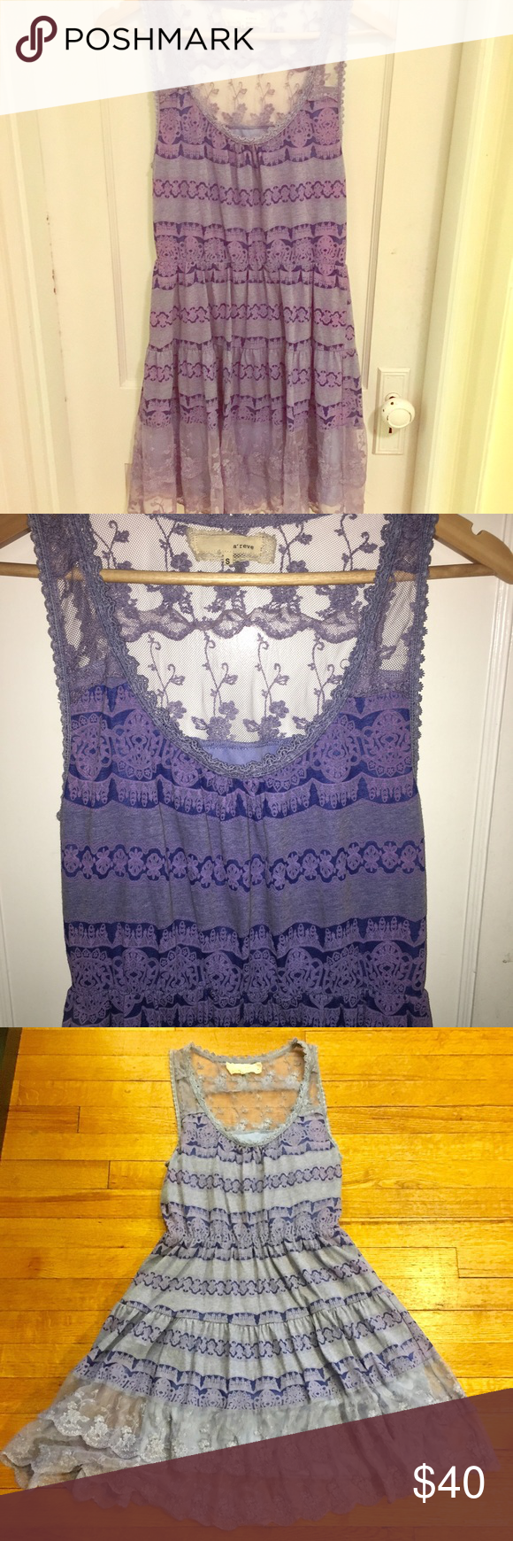 Modcloth A'reve Purple Lace Tier Dress Modcloth A'reve Purple Lace Tier Dress. Beautiful lace detail through your dress. Damask print. Cinched waist. Perfect for spring or Easter dress! ModCloth Dresses