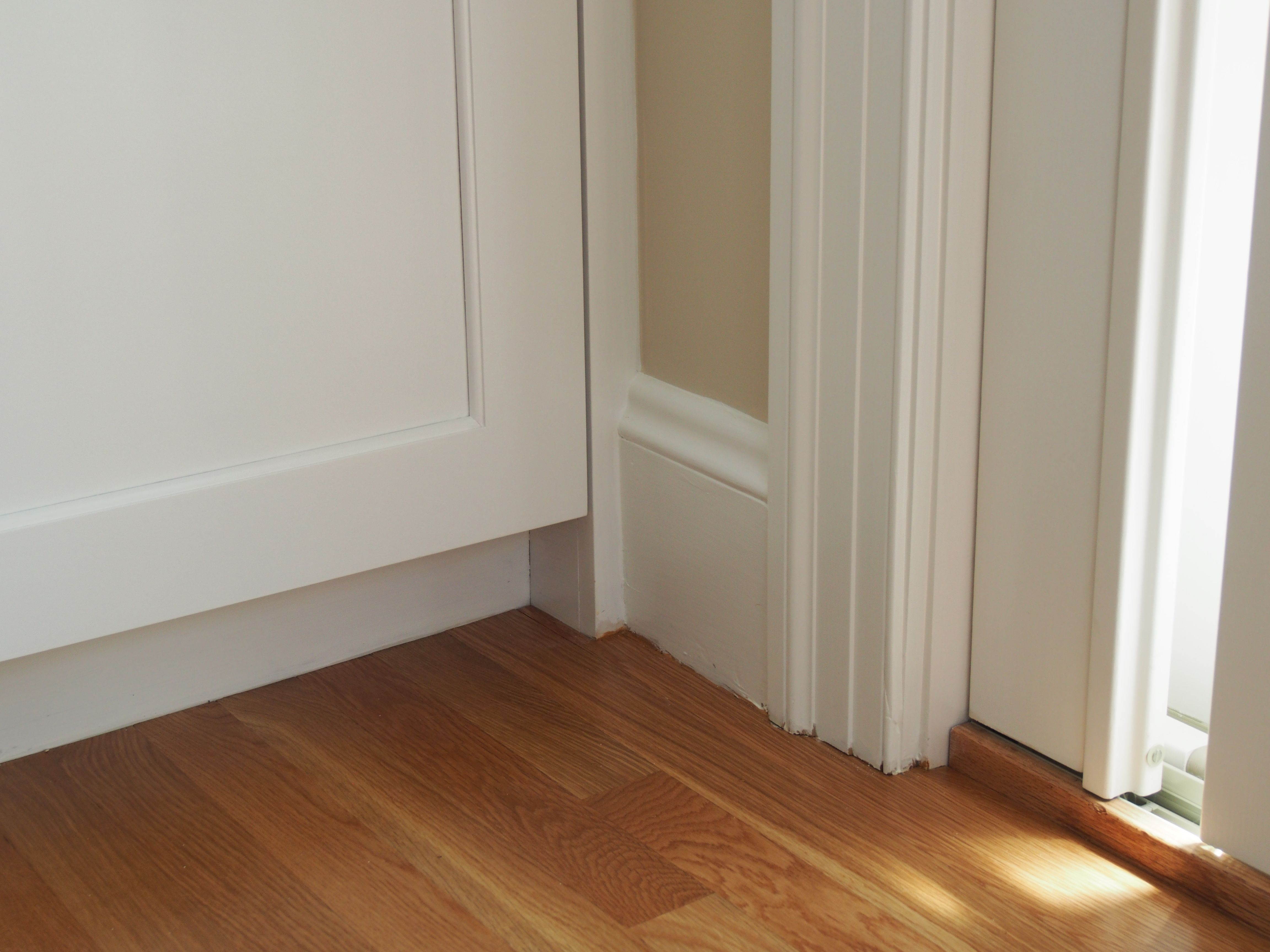how to integrate a 4 kitchen kickspace with a taller baseboard 1