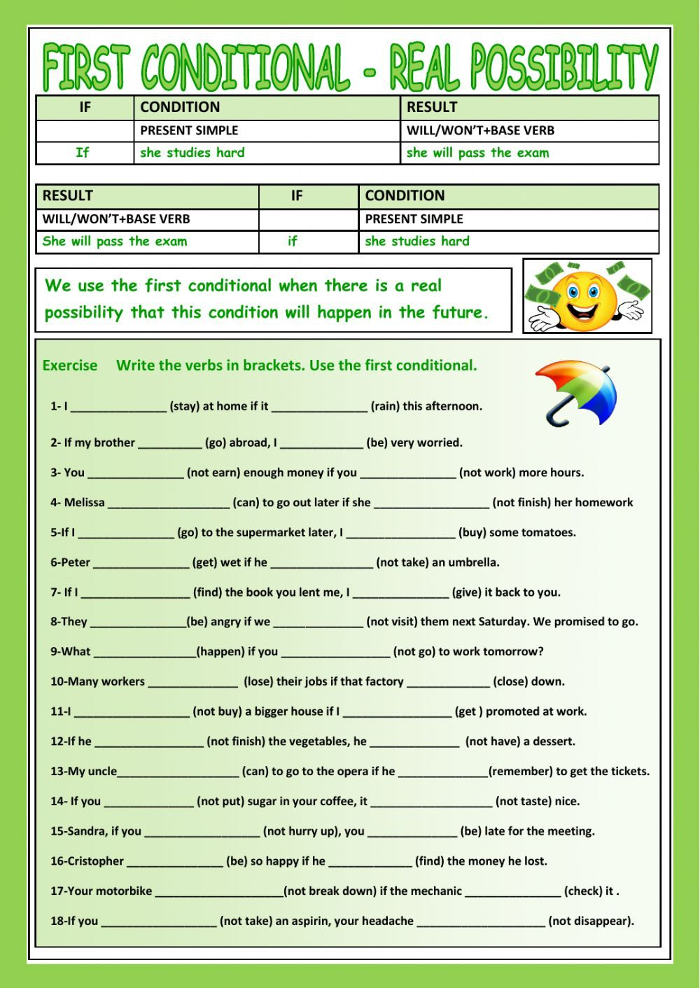 First conditional interactive and downloadable worksheet