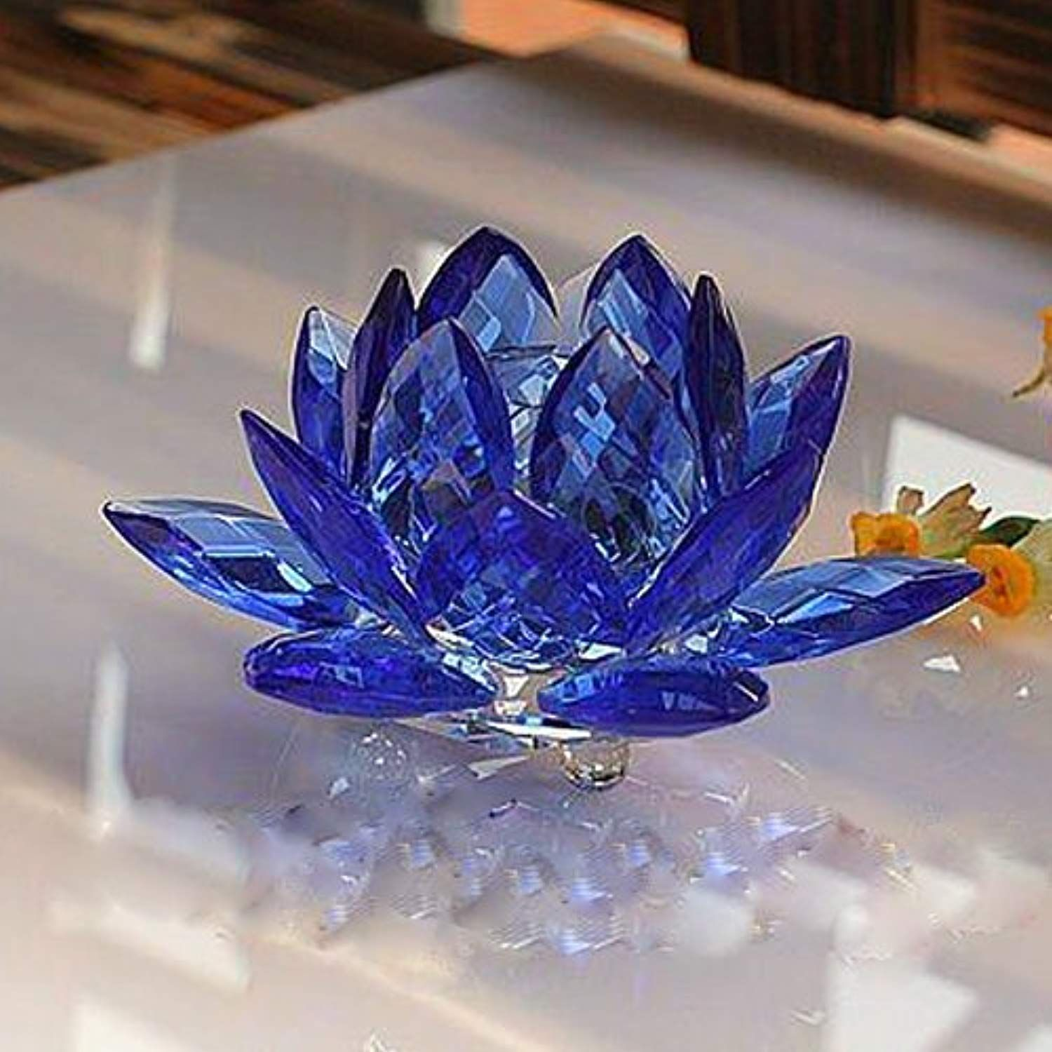 Amlong Crystal 3 Inch Sapphire Blue Crystal Lotus Flower Feng Shui