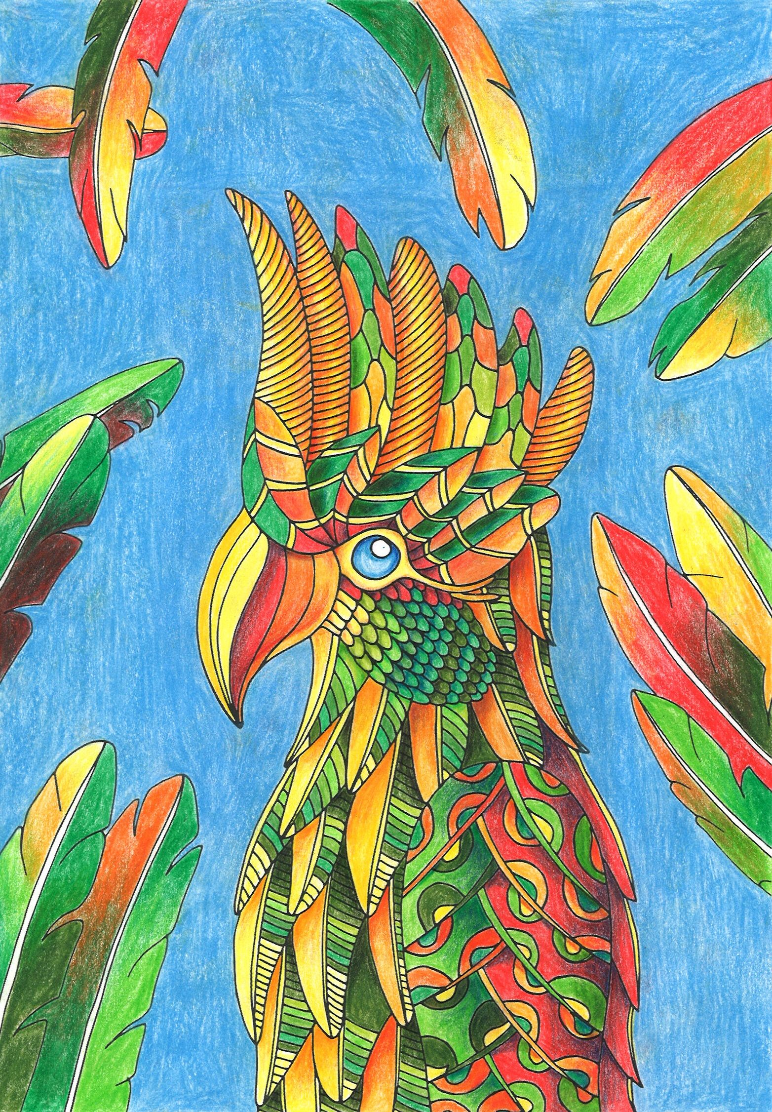Finished coloring page from Fantastic Birds To Color: A Bird