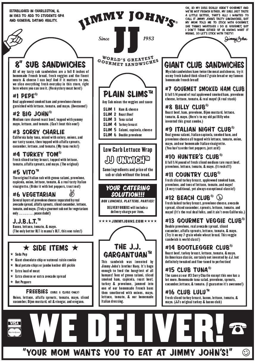 photo about Jimmy Johns Printable Menu called Jimmy Johns Printable Menu Carisoprodolpharm during