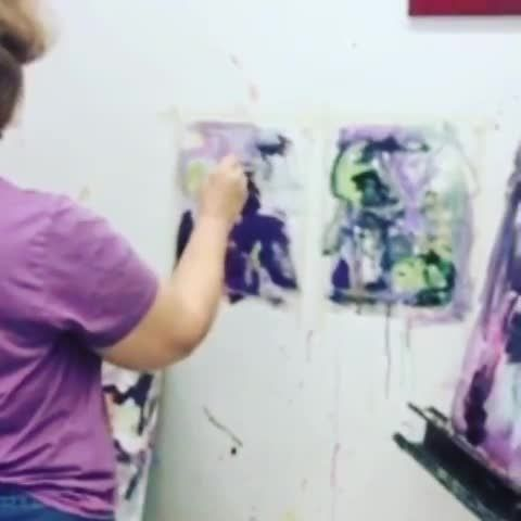 Laura Salzberg Working On Abstract Paintings In Our Acrylics Class