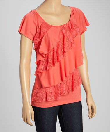 Another great find on #zulily! Coral Lace-Trim Tiered Top - Petite by Allie & Rob #zulilyfinds