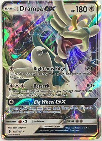 1 X Pokemon Card Rare Holo Drampa Gx 115 145 Sun Moon Guardians