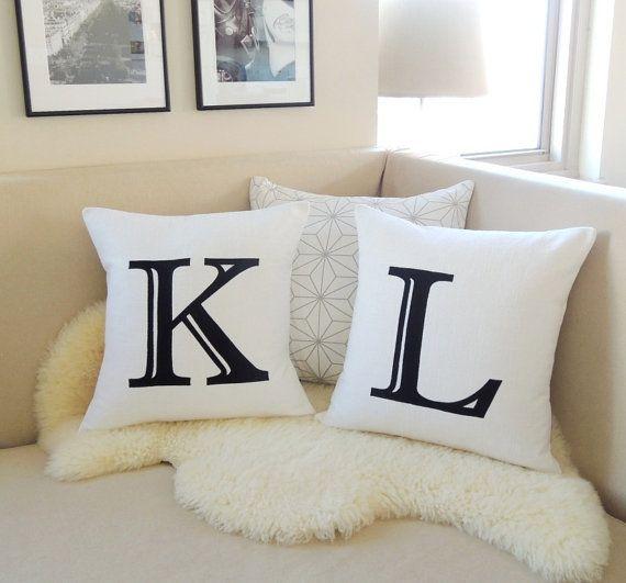 Initial Pillow Cover Pair, Personalized Custom Monogram Appliqués, Modern Luxe, Parisian Chic Black & White Decor  - 18x18