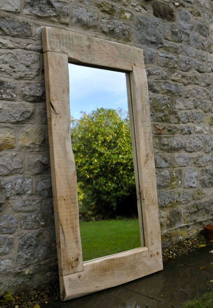 Large mirror handmade oak frame traditional rustic for Big framed mirror