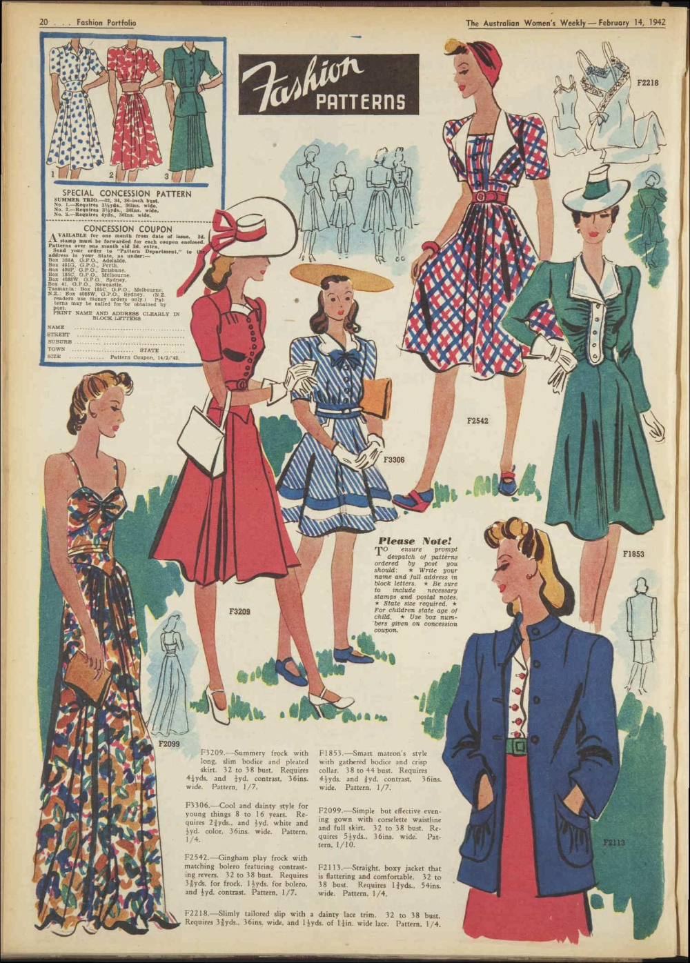 Issue 14 Feb 1942 The Australian Women S Wee Vintage Dress Patterns Fashion History 1940s Inspired Fashion