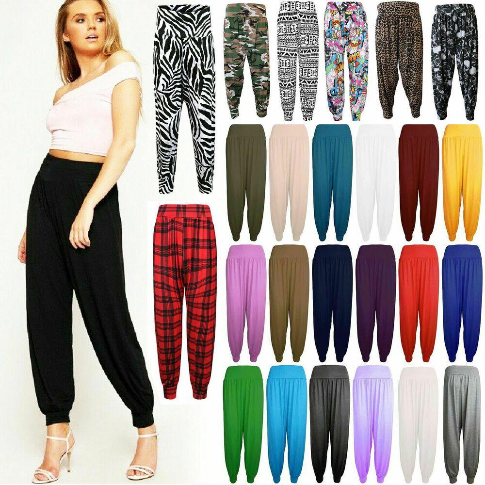 New Ladies Full Length Hareem Ali Baba Pants Women Baggy Trouser Harem Leggings