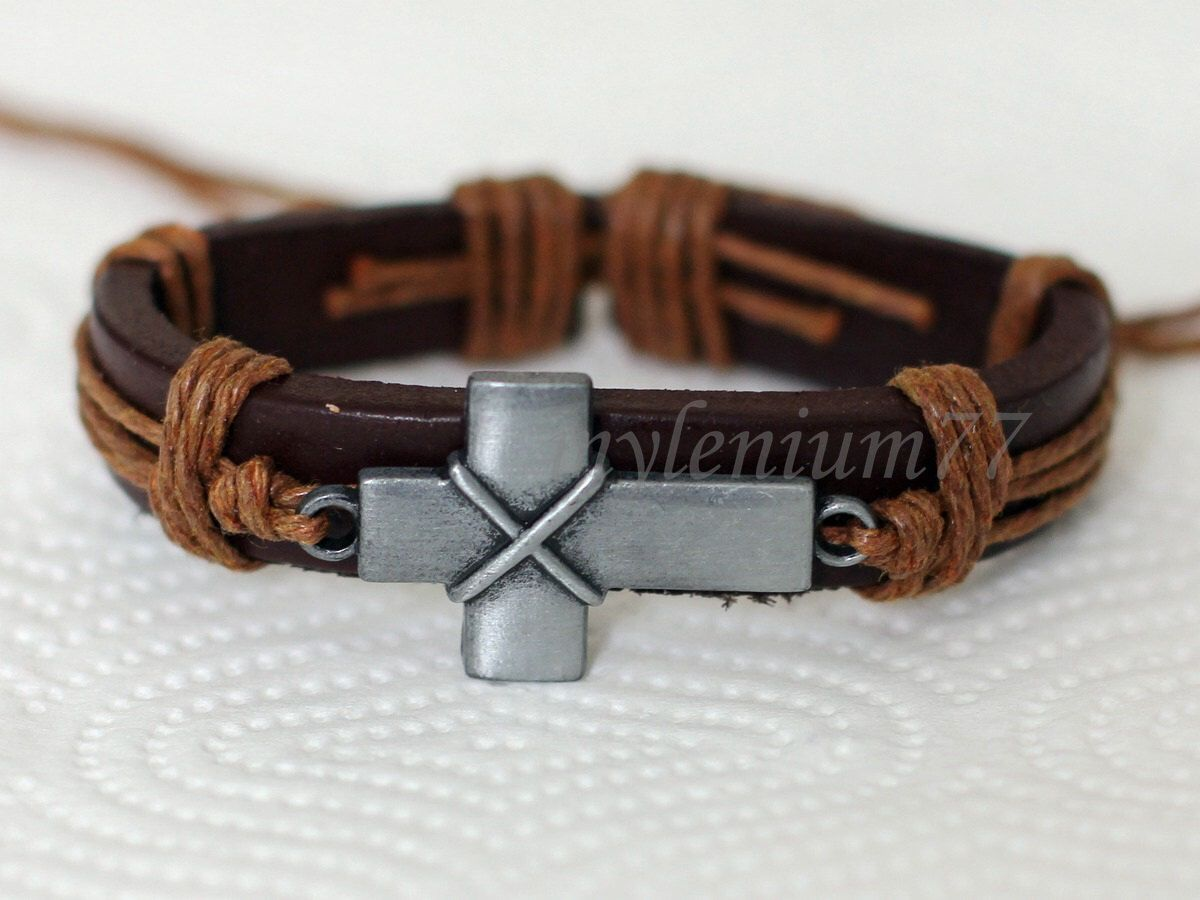 186 Men S Brown Leather Bracelet Cross Charm Religious Jewelry Birthday Gift For And Women By Mylenium77 On